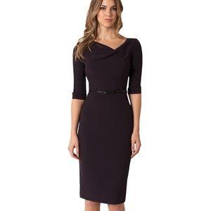 Black Halo 3/4 Sleeve Jackie O Dress Belted Black